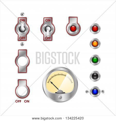 electrical switches, readings of devices and colored lights
