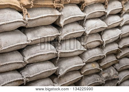 Background of sandbags for flood defense or military use
