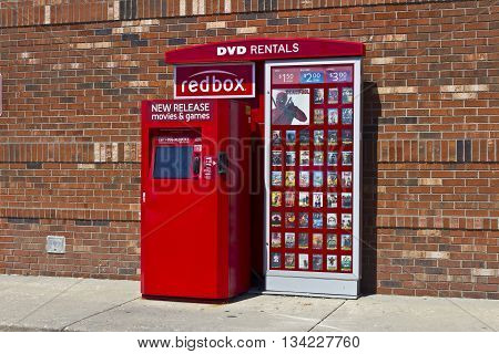 Indianapolis - Circa June 2016: RedBox Retail Kiosk. RedBox Rents DVDs Blu-Ray and Video Game Discs II