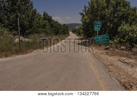 Upper Galilee, Israel: Entry prohibited to section of the road that leads toward the international border with lebanon