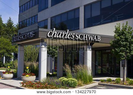 Indianapolis - Circa June 2016: Charles Schwab Consumer Location. The Charles Schwab Corporation Provides Brokerage Banking and Financial Services III