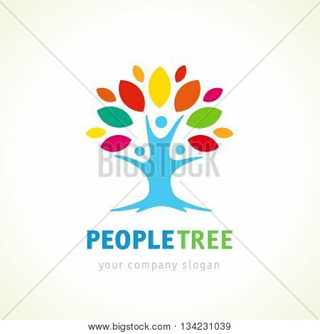 People unity logo, communication logo, eco green logo, vector logo template. People tree logo