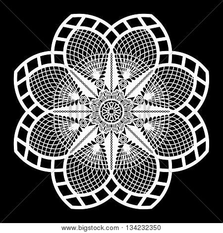 Lace round paper doily laca snowflake greeting element package doily - a template for cutting lace pattern decorative flower vector illustrations