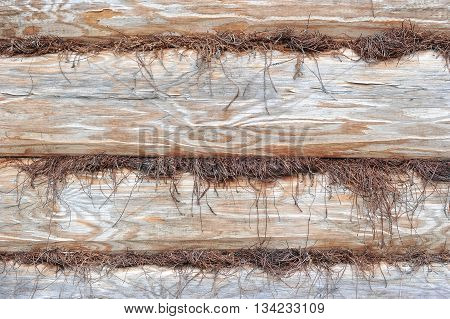 background of hewn logs and insulation wood