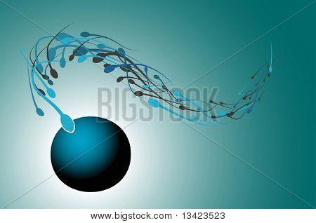 Sperms approaching an ovum