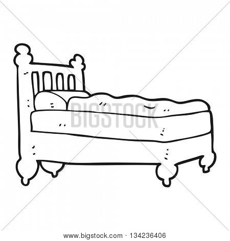 freehand drawn black and white cartoon bed