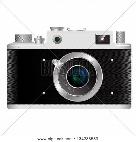 Old rangefinder film camera on a white background with reflections on the lens