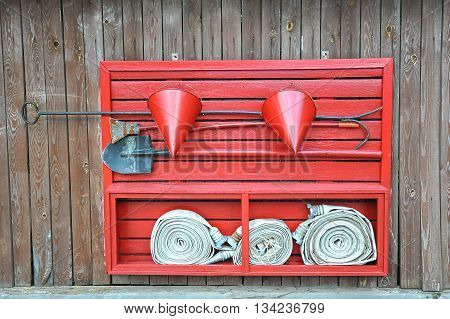 fire shield red on wooden background for fire protection