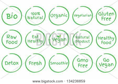 Set of Healthy Food Symbols. Vector Bio 100% Natural Organic Vegetarian Gluten Free Raw Food Eat Healthy Vegan Natural Product Detox Fresh Smoothie GMO Free Go Vegan
