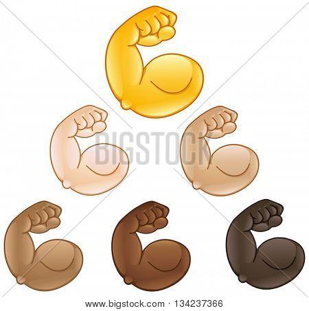 Flexed biceps hand of various skin tones