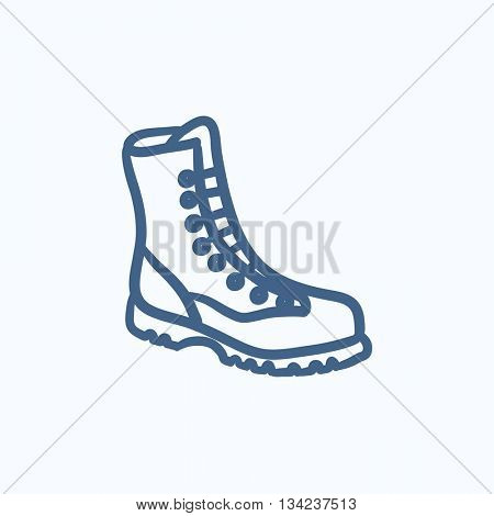 Boot with laces vector sketch icon isolated on background. Hand drawn Boot with laces icon. Boot with laces sketch icon for infographic, website or app.