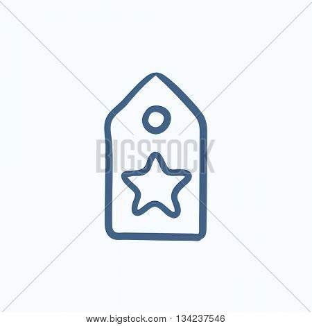 Tag with star vector sketch icon isolated on background. Hand drawn Tag with star icon. Tag with star sketch icon for infographic, website or app.