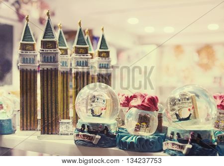 Figurines of attractions and Snowglobes - souvenirs from Venice Italy