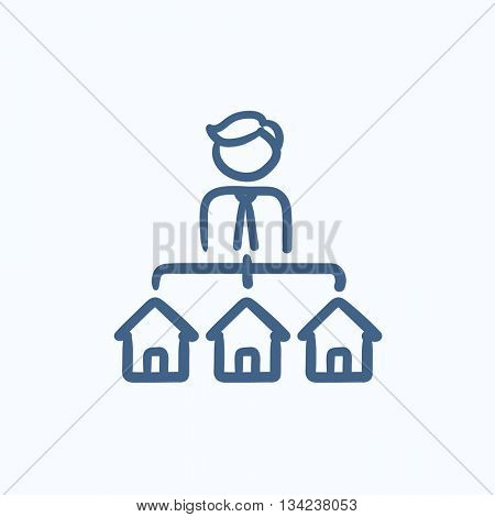 Real estate agent with three houses vector sketch icon isolated on background. Hand drawn Real estate agent with houses icon. Real estate agent with houses sketch icon for infographic, website or app.