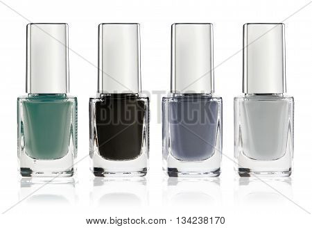 Set of colorful nail polish isolated on white