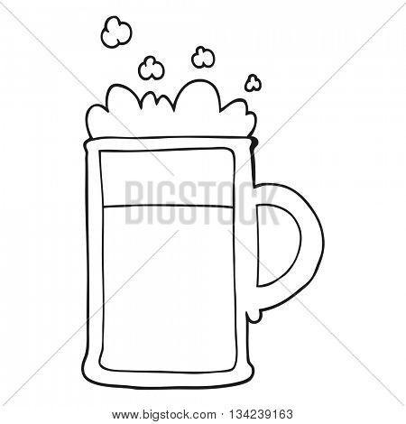 freehand drawn black and white cartoon tankard of beer