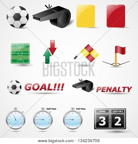 Set of 14 Football Vector Icon | Soccer | Championship | Tournament
