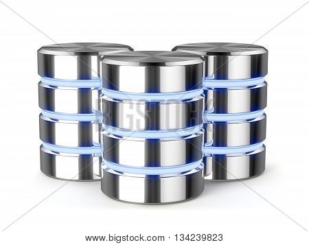 Big data hard disk drive metal data storage light stripes database icon symbols isolated with shadow. 3d rendering