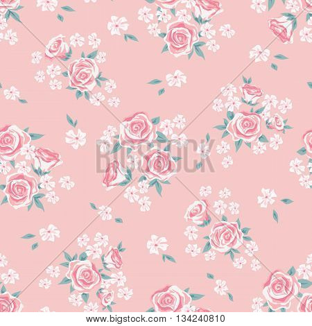 Flower seamless pattern vector. Simple floral print with rose. Small rose flower seamless background. Small rose flower pattern illustration. Small rose seamless pattern design. Rose vector pattern