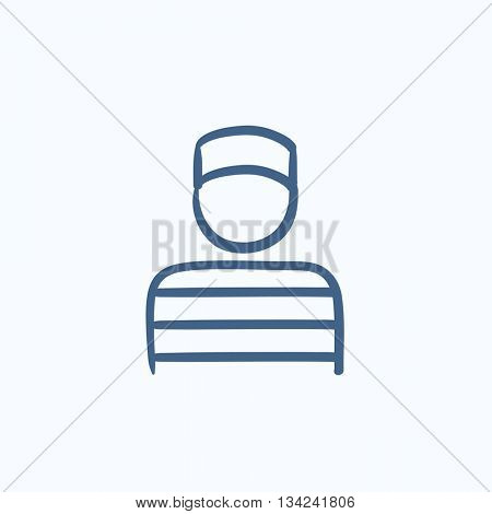 Prisoner vector sketch icon isolated on background. Hand drawn Prisoner icon. Prisoner sketch icon for infographic, website or app.