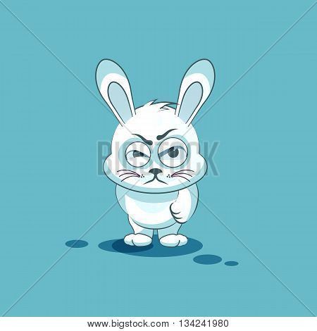 Vector Stock Illustration isolated Emoji character cartoon White leveret sticker emoticon with angry emotion for site, info graphic, video, animation, websites, e-mails, newsletters, reports, comics