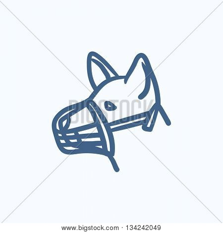Dog with muzzle vector sketch icon isolated on background. Hand drawn Dog with muzzle icon. Dog with muzzle sketch icon for infographic, website or app.