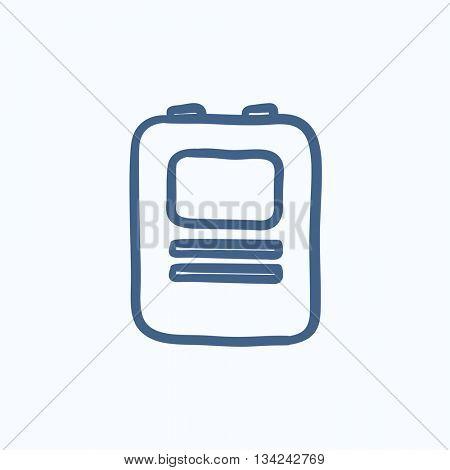 Heart defibrillator vector sketch icon isolated on background. Hand drawn Heart defibrillator icon. Heart defibrillator sketch icon for infographic, website or app.