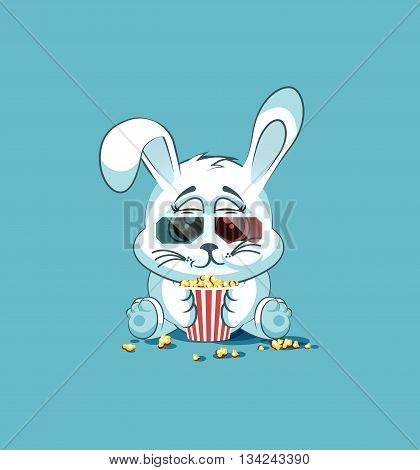 Vector Stock Illustration Emoji character cartoon White leveret chewing popcorn, watching movie in 3D glasses sticker emoticon for site, infographic, video, animation, website, e-mail, newsletter, report, comic
