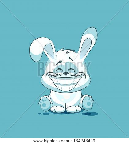 Vector Stock Illustration isolated Emoji character cartoon White leveret with a huge smile from ear to ear sticker emoticon for site, info graphic, video, animation, website, e-mail, newsletter, reports, comics
