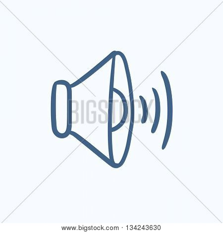 Speaker volume vector sketch icon isolated on background. Hand drawn Speaker volume icon. Speaker volume sketch icon for infographic, website or app. poster