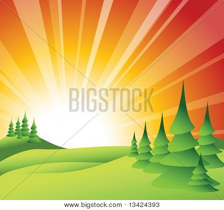 Summer landscape with green grass, trees and sun rise