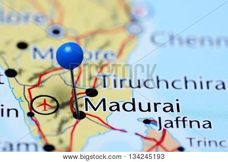 Madurai pinned on a map of India