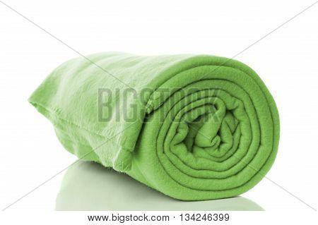 mint green fleece blanket roll on white