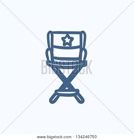 Director chair vector sketch icon isolated on background. Hand drawn Director chair icon. Director chair sketch icon for infographic, website or app.