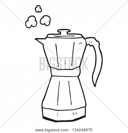 freehand drawn black and white cartoon stovetop espresso maker
