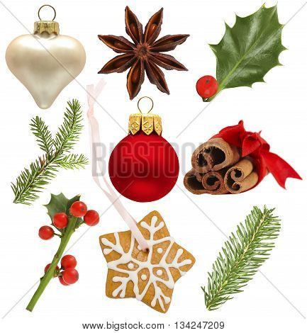 Set of Christmas design elements - holly red ball green fir; star anise snowflake cookies isolated on white background