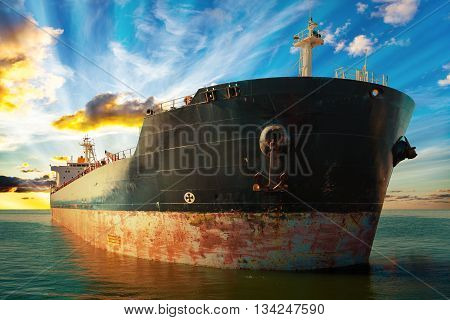 Big ship at sunset - view from the bow.