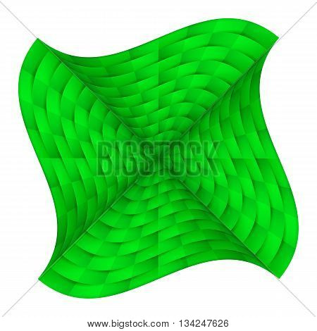 Abstract curved chequered background in shades of green