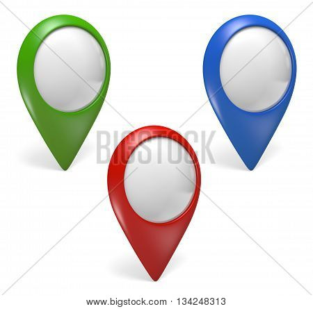 Three green, blue, and red GPS pointer icons for virtual maps on a white background, 3D rendering
