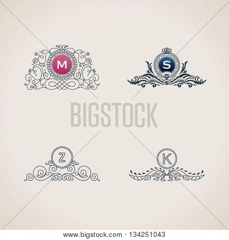 Calligraphic flourishes luxury monogram set. Line frame template logo for emblem. Design calligraphic menu, restaurant cafe, invitations, cards. Vintage line symbols M, S, Z, K. Raster copy
