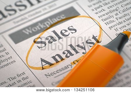 Newspaper with Jobs Sales Analyst. Sales Analyst - Job Vacancy in Newspaper, Circled with a Orange Highlighter. Blurred Image with Selective focus. Job Seeking Concept. 3D Rendering.