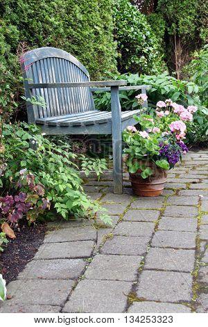 Rustic garden bench and pink geraniums