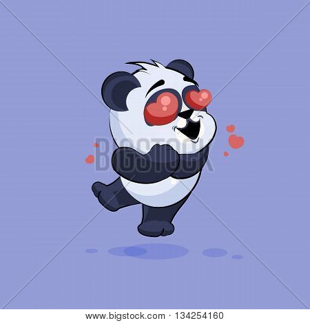 Vector Stock Illustration isolated Emoji character cartoon Panda in love flying with hearts sticker emoticon for site, info graphic, video, animation, websites, e-mails, newsletters, reports, comics