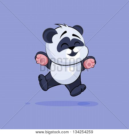 Vector Stock Illustration isolated Emoji character cartoon Panda jumping for joy, happy sticker emoticon for site, info graphic, video, animation, websites, e-mails, newsletters, reports, comics