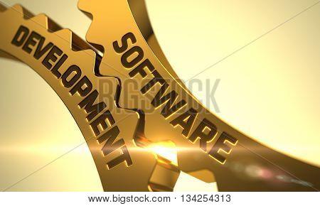 Software Development on the Golden Metallic Cog Gears. Golden Metallic Gears with Software Development Concept. Software Development on Mechanism of Golden Gears with Glow Effect. 3D Render.