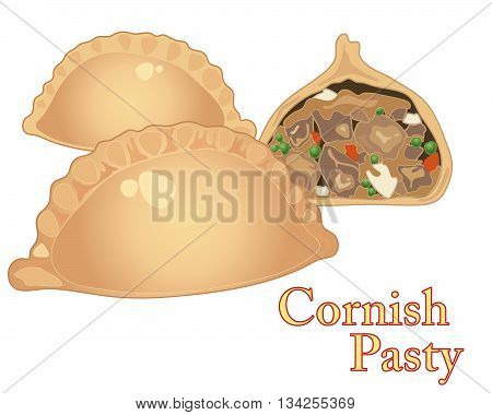 an illustration of freshly made cornish pasties with one cut in half on a white background
