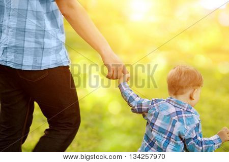 Child, baby holding an adult's hand. Father and son on a walk. The kid and the man.