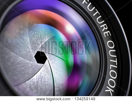 Lens of Reflex Camera with Future Outlook Concept. Future Outlook Concept. Closeup Camera Photo Lens with Pink and Orange Reflection and Inscription Future Outlook. 3D Render.