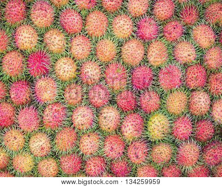 Pattern Of Rambutan For Food Background