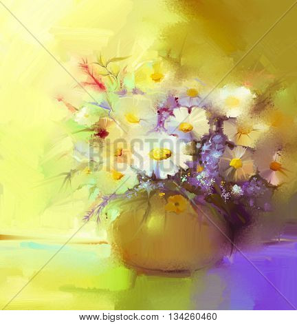 Abstract oil painting of spring flower. Still life of white gerbera daisies lilac wildflowers. Colorful Bouquet flowers in vase. Hand Painted floral modern Impressionist style